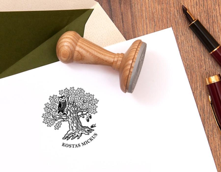 Ex libris Stamp Wise Owl (E-5046)