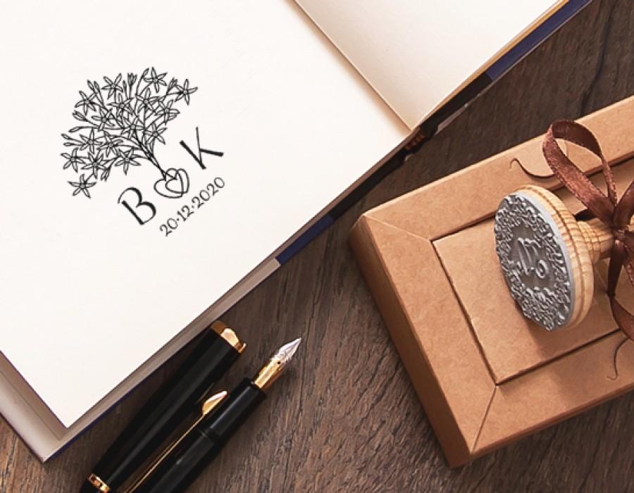 Wedding Stamp Couple Hearts (W-5021)